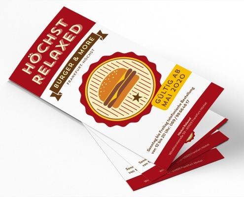Speisekarte für Burgerlokal »Höchst Relaxed«, Titelseite