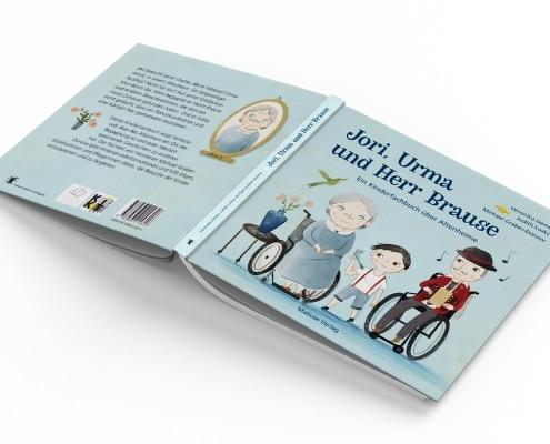 Kinderfachbuch über Altenheime, »Jori, Urma und Herr Brause«, Mabuse-Verlag, Titel und Rückseite