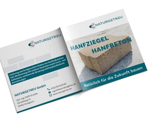 Imagebroschüre für »Naturgetreu GmbH«, Titel und Rückseite