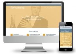 Webdesign für Projektmanagement Gladbach: Darstellung auf stationärem Monitor und Smartphone
