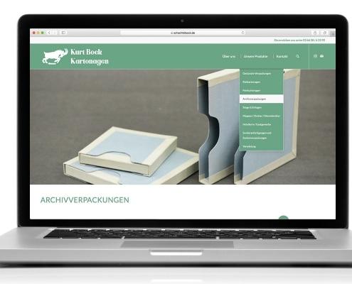 Gestaltung des Webauftritts für Kurt Bock Kartonagen, Ansicht Notebook