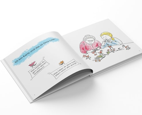 Gestaltung der Innenseiten für Kinderfachbuch »Oma und die Schmetterlinge« des Mabuse-Verlags