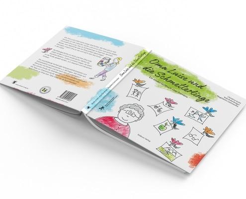 Einbandgestaltung für Kinderfachbuch »Oma und die Schmetterlinge« des Mabuse-Verlags