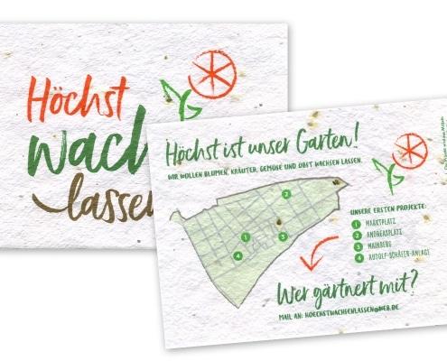 Postkarten auf Saatgutpapier für Urban-Gardening-Projekt »Höchst wachsen lassen«, Rückseite