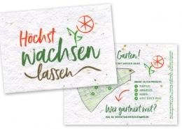 Postkarten auf Saatgutpapier für Urban-Gardening-Projekt »Höchst wachsen lassen«, Vorderseite