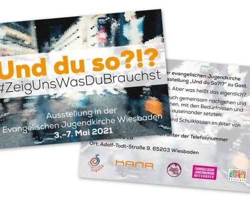 Werbepostkarte für die Ausstellung »Und du so?!?« in der Evangelischen Jugendkirche Wiesbaden