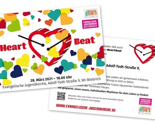 Werbepostkarte für den Trommelgottesdienst »Heart Beat« des stajupfa